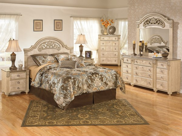 Saveaha Light Brown Wood Marble 2pc Bedroom Sets B346-BR-S