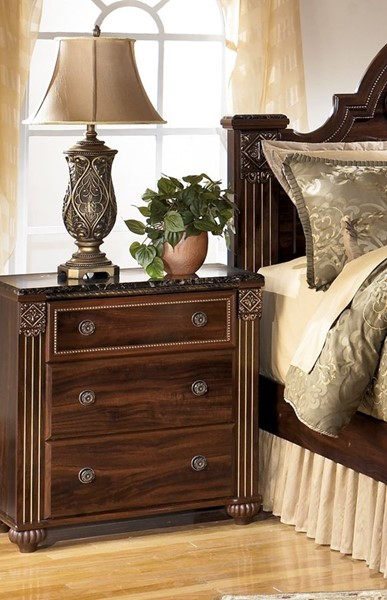Gabriela Traditional Dark Brown Wood 3- Drawer Night Stand B347-93