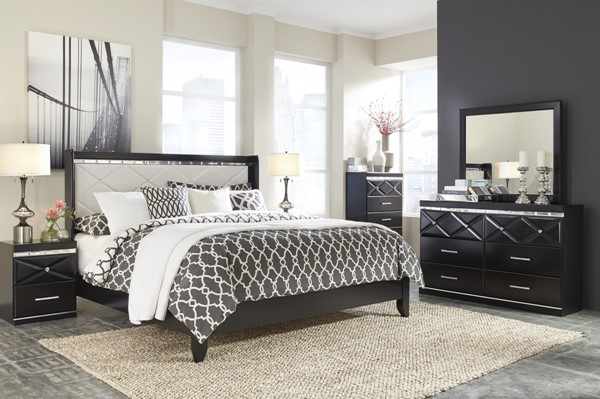 Fancee Black Master Bedroom Set W/Tufted Headboard B348-BR