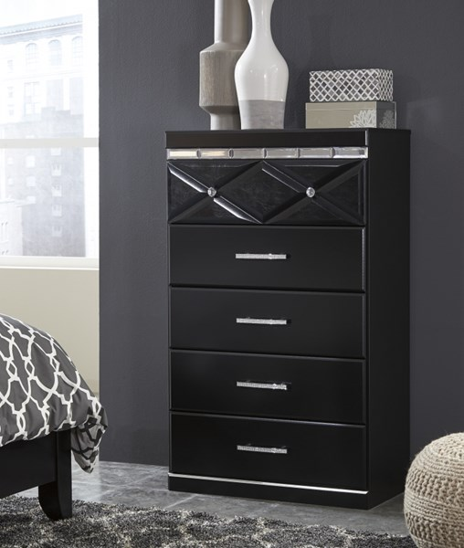 Fancee Contemporary Black Five Drawer Chest B348-46