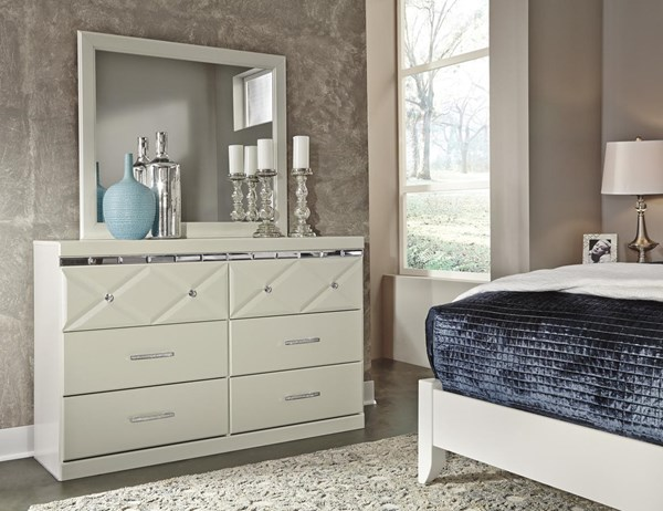 Dreamur Contemporary Champagne Dresser And Mirror B351-DRMR