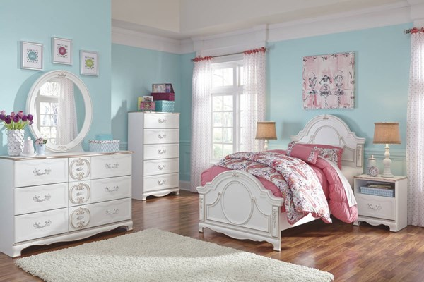 Korabella Traditional Classics White Wood 2pc Bedroom Set W/Full Bed B355-BR-S2
