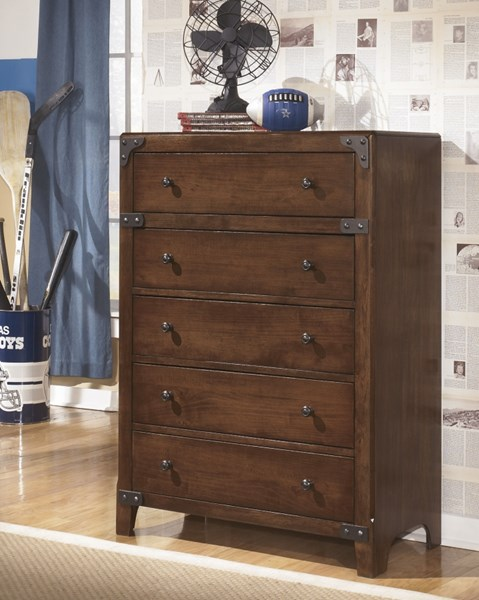 Delburne Casual Medium Brown Wood Drawer Chest B362-45
