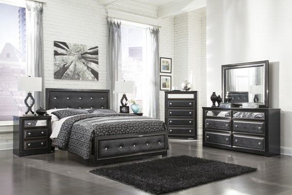 Alamadyre Contemporary Black Wood Faux Leather 2pc Bedroom Sets B364-54-VER-1