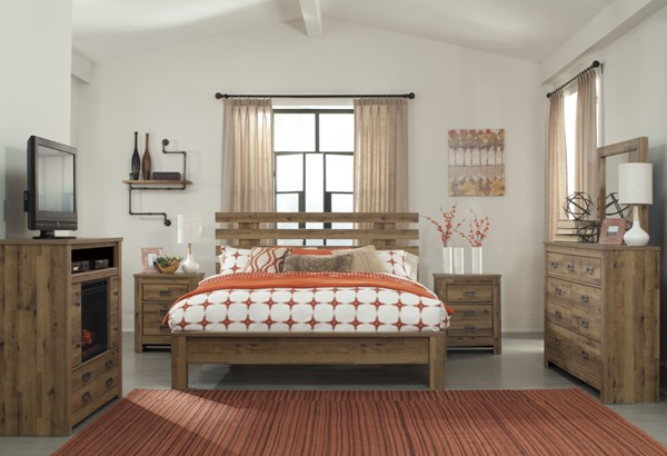 Cinrey Modern Medium Brown Wood 2pc Bedroom Set W/Queen Panel Bed B369-BR-QB-S2