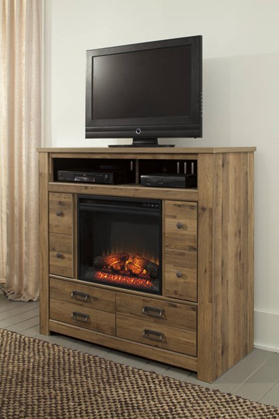 Entertainment Accessories Brown Black Metal Media Chest W/Fireplace W369-49-W100-01