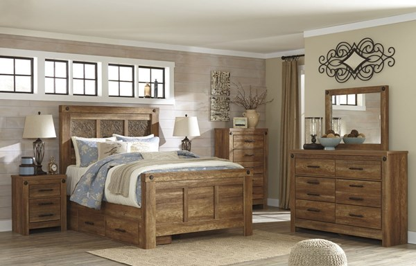 Ladimier Casual Golden Brown Wood 2pc Bedroom Sets W/Panel Beds B399-BR-S-VAR2