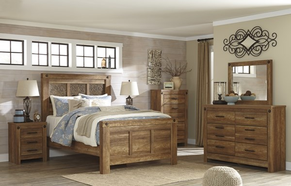 Ladimier Casual Golden Brown Wood Master Bedroom Set B399-BR