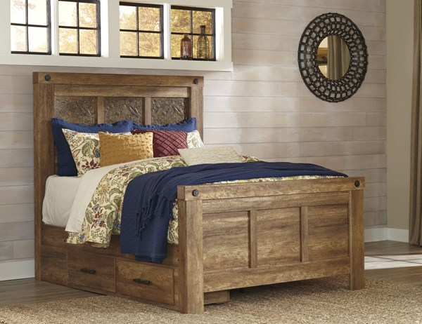 Ladimier Casual Medium Brown Wood Panel Storage Bed B399-QPSBED-VAR