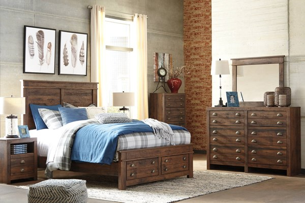 Hammerstead Casual Brown Wood 2pc Bedroom Sets W/Storage Bed B407-BR-S-VAR2
