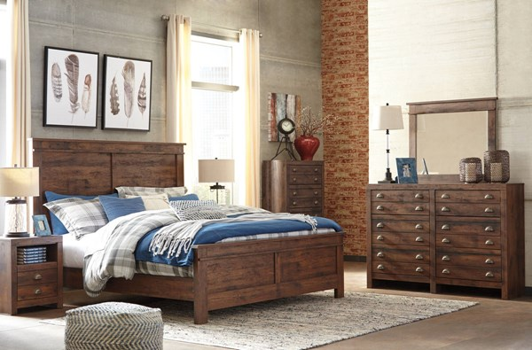 Hammerstead Casual Brown Wood 2pc Bedroom Set W/King Panel Bed B407-BR-S2