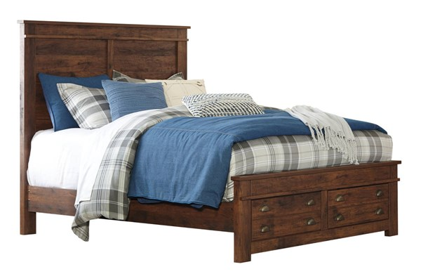 Hammerstead Casual Brown Wood Queen Storage Bed B407-QSBED