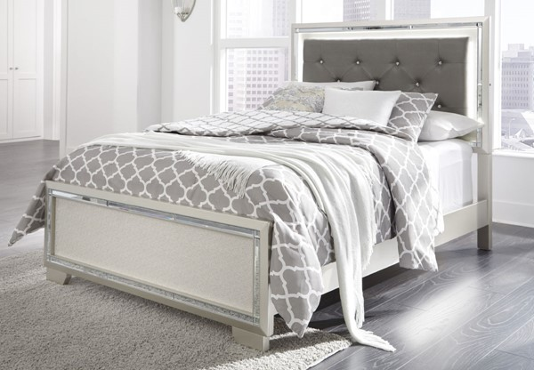Ashley Furniture Lonnix Silver Upholstered Headboard With Bed Frame B410-HDBD-FRAME-VAR