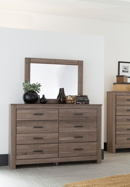 Waldrew Contemporary Warm Gray Wood Glass Dresser And Mirror B415-DRMR