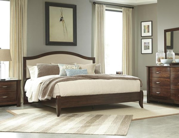 Corraya Contemporary Medium Brown Queen UPH Panel Bed B428-QUPNL-BED