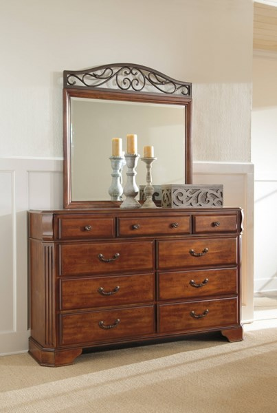 Wyatt Traditional Medium Brown Cherry Stain Wood Metal Dresser B429-31