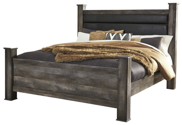 Ashley Furniture Wynnlow Gray King Upholstered Poster Bed B440-KUPNL-BED