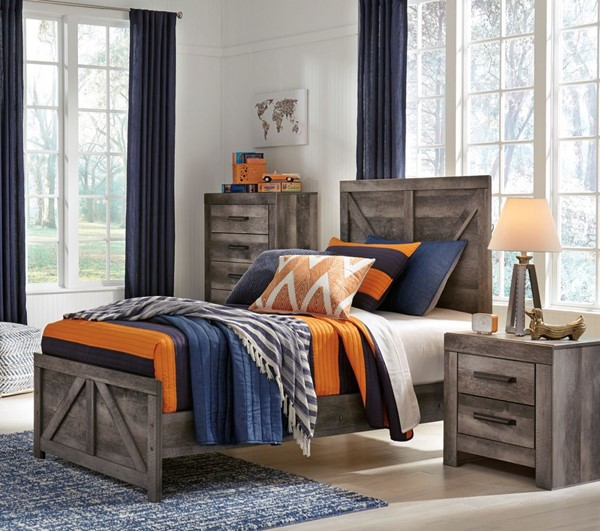 Ashley Furniture Wynnlow Gray Wood 2pc Bedroom Set With