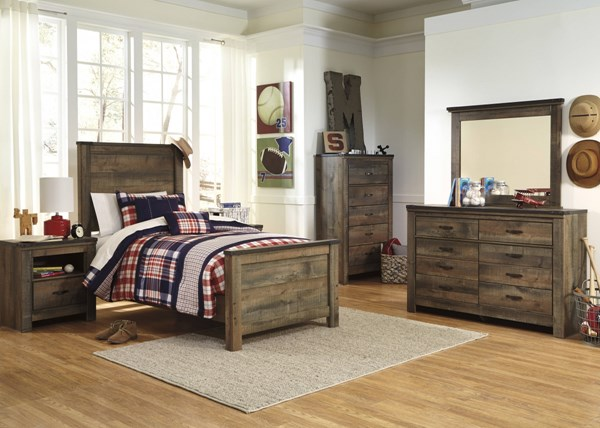 Trinell Vintage Casual Brown Wood 2pc Bedroom Set W/Twin Bed B446-BR-S5