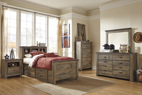 Trinell Brown Wood 2pc Bedroom Set W/Twin Bookcase & Storage Bed B446-BR-S12