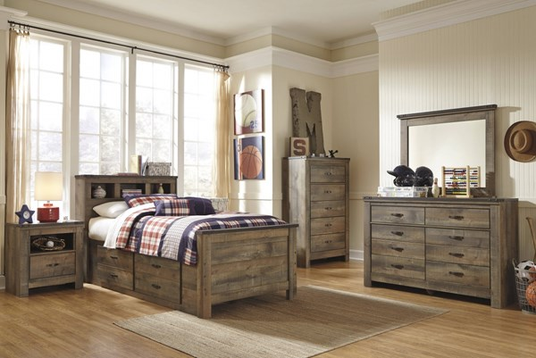 Trinell Vintage Casual Brown 2pc Bedroom Set W/Twin Drawer Storage Bed B446-BR-S8