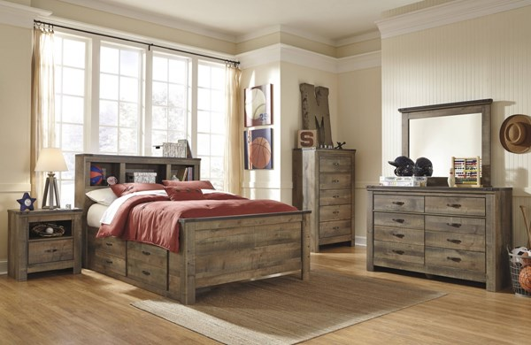 Trinell Brown Wood 2pc Bedroom Set W/Full Bookcase & Storage Bed B446-BR-S13