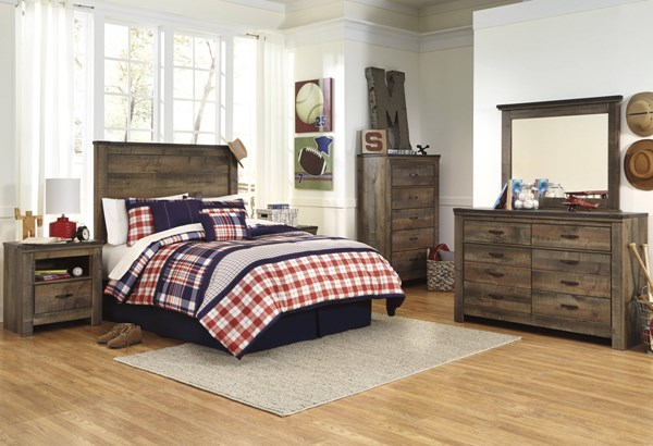 Trinell Vintage Casual Brown Wood 2pc Bedroom Set W/Queen Bed B446-BR-S4
