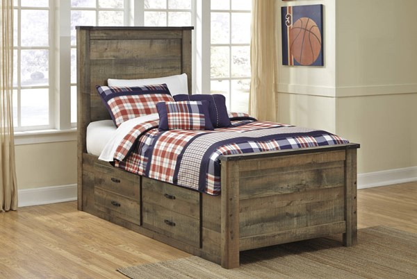 Trinell Brown Twin Drawer Storage Bed W/Bookcase Headboard B446-TBSBED