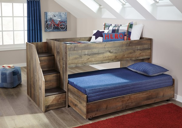 Ashley Furniture Trinell Brown Twin Caster Loft Bed The Classy Home