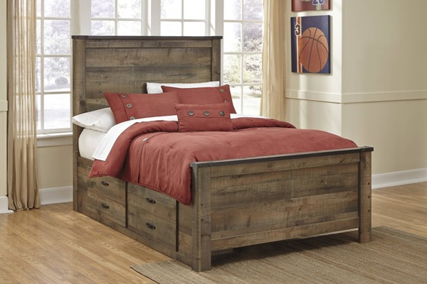 Trinell Vintage Casual Brown Drawer Storage Bed B446-S-BED-VAR