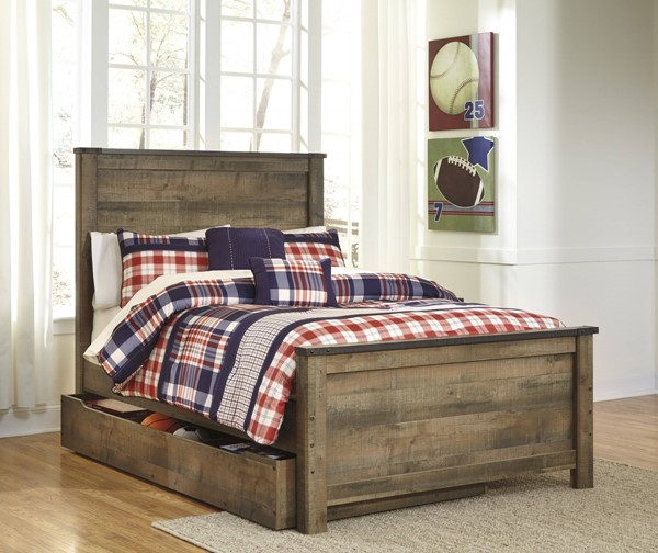 Trinell Vintage Casual Brown Full Panel Under Storage Bed B446-FSBED