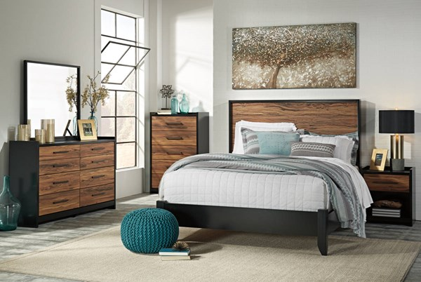 Stavani Contemporary Black Brown Wood 2pc Bedroom Sets W/Panel Bed B457-BR-S-VAR