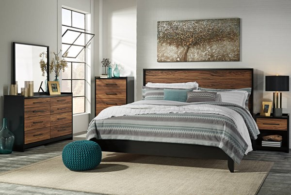 Stavani Contemporary Black Brown Wood 2pc Bedroom Set W/King Panel Bed B457-BR-S2