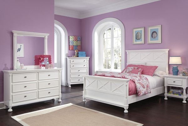 Kaslyn White Wood 2pc Bedroom Set W/Queen Panel Bed B502-54-QPB-1