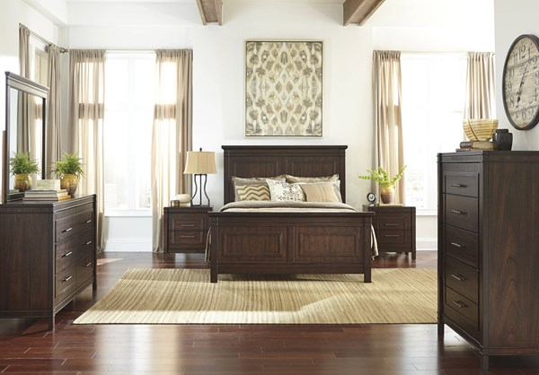 Timbol Casual Warm Brown Wood 2pc Bedroom Set W/Queen Panel Bed B508-BR-QSB-S1