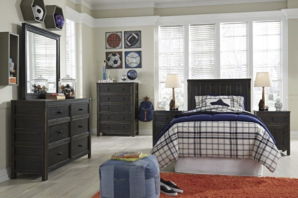 Jaysom Casual Black Solid Wood 2pc Bedroom Sets W/Panel Headboards B521-BR-S-VAR1