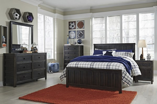 Jaysom Casual Black Solid Wood 2pc Bedroom Set W/Full Panel Bed B521-BR-S5