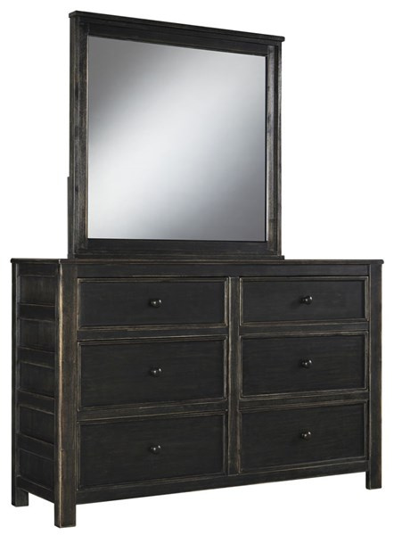 Jaysom Casual Black Solid Wood Glass Dresser And Mirror B521-DRMR