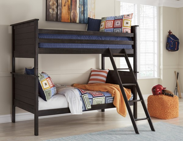 Jaysom Casual Black Solid Wood Twin Bunk Bed Rails & Ladder B521-59R
