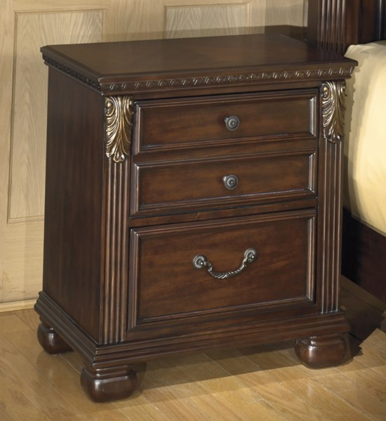 Leahlyn Warm Brown Wood Two Drawer Night Stand B526-92