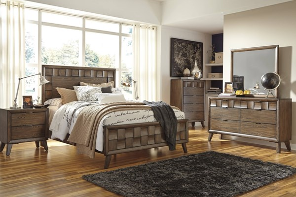 Debeaux Contemporary Medium Brown Wood Glass 5pc Panel Bedroom Sets B535-BR-S-VAR