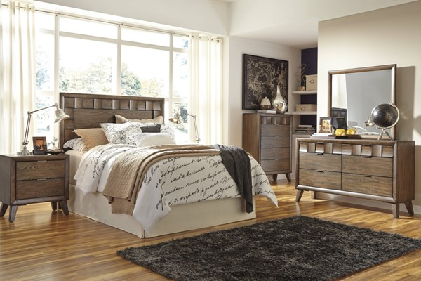 Debeaux Medium Brown Wood Glass 5pc Bedroom Sets W/Panel Headboard B535-HB-SET-VAR