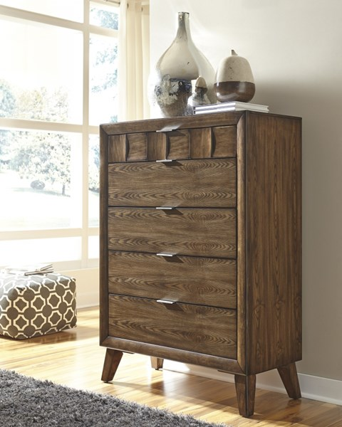 Debeaux Contemporary Medium Brown Wood Five Drawers Chest B535-46