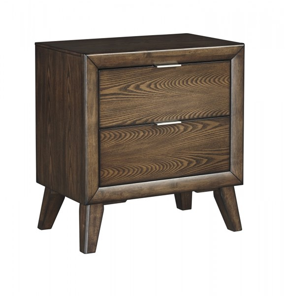 Debeaux Contemporary Medium Brown Wood Two Drawers Night Stand B535-92