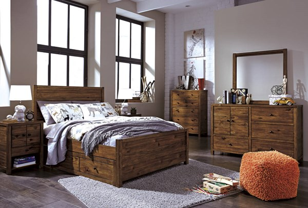 Fennison Contemporary Brown Wood 2pc Bedroom Set W/Twin Storage Bed B544-BR-S5