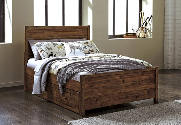 Fennison Contemporary Light Brown Wood Twin Panel Bed W/Storage B544-TPSBED