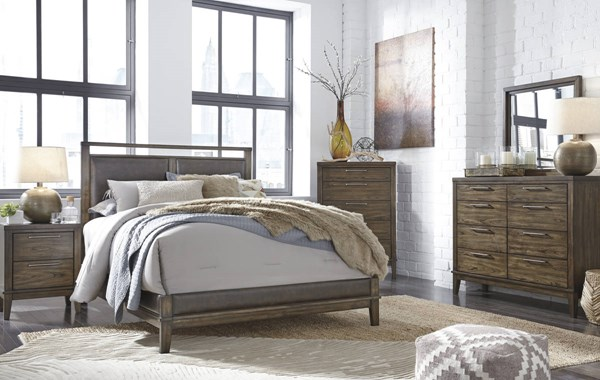Zilmar Contemporary Brown Walnut Solid Wood PU Master Bedroom Set B548-BR