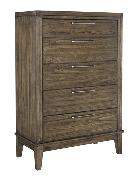 Zilmar Contemporary Brown Solid Wood Five Drawer Chest B548-46