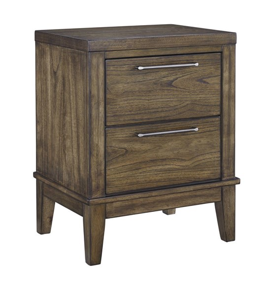 Zilmar Contemporary Walnut Brown Solid Wood Two Drawer Night Stand B548-92