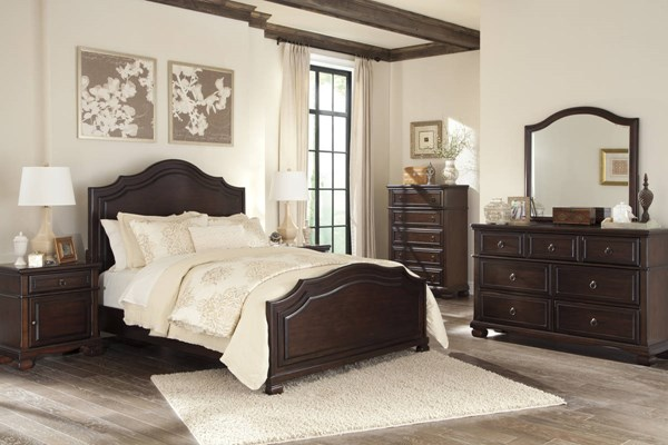 Brulind Casual Brown Wood Glass 5pc Bedroom Set W/Queen Panel Bed B554-BR-S3